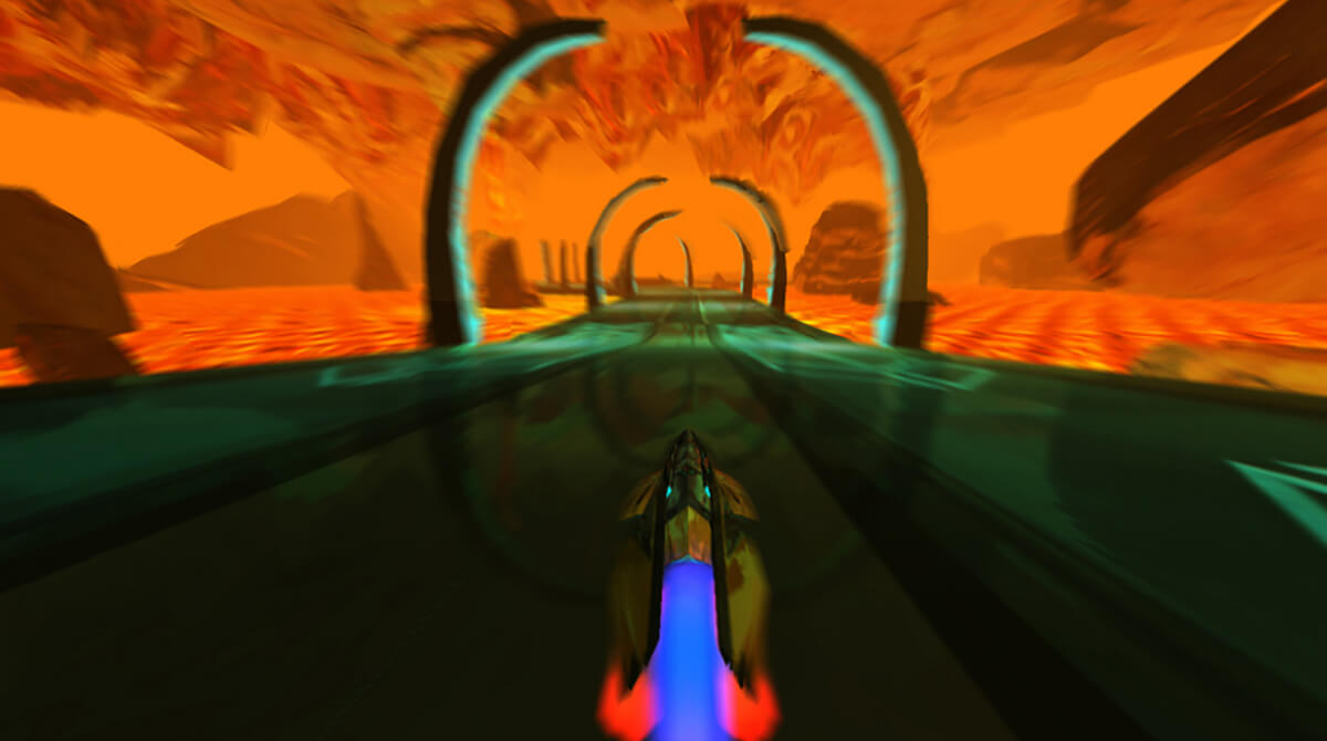 Screenshot from the DigiPen student game Arc in which a yellow hovercraft races on a blue speedway across a desert landscape.