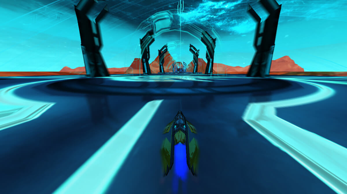 Screenshot from DigiPen student game Arc in which a hovercraft is racing along a bluish speedway spanning a lava-filled lake.