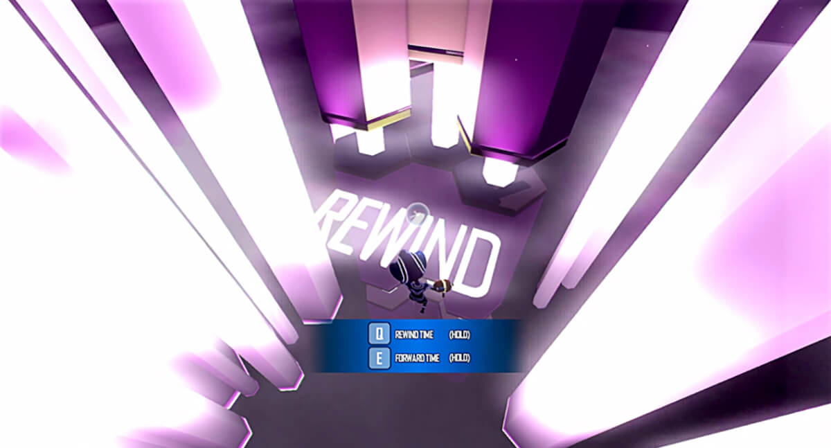 Screenshot of DigiPen game Chrono Disfunglement in which avatar stands in purple room with the word REWIND written on floor.