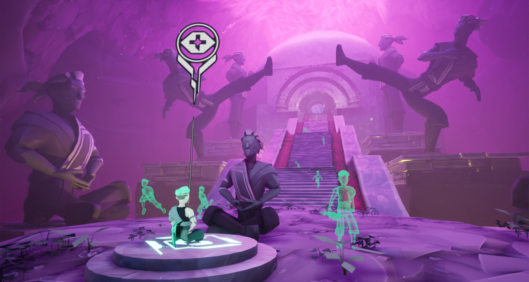 Game screenshot showing a monk meditating at the base of a stairway leading to a stone temple, surrounded by phantom figures