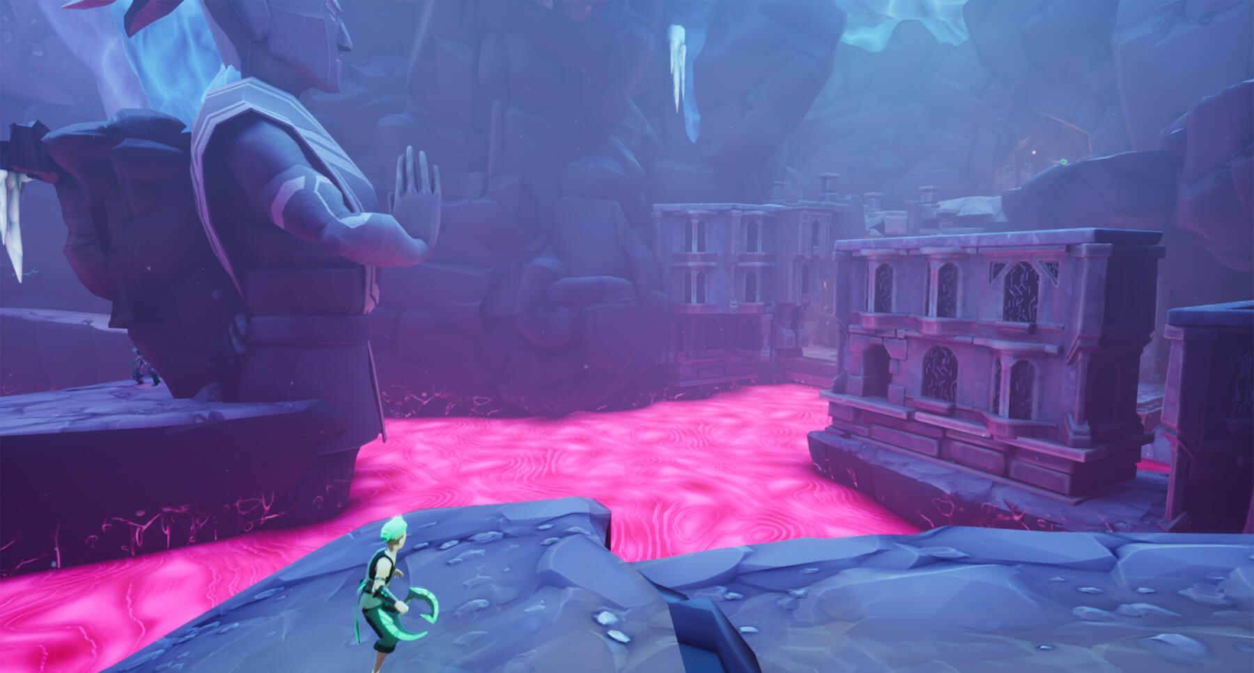 Game screenshot showing a monk protagonist standing amidst underground ruins