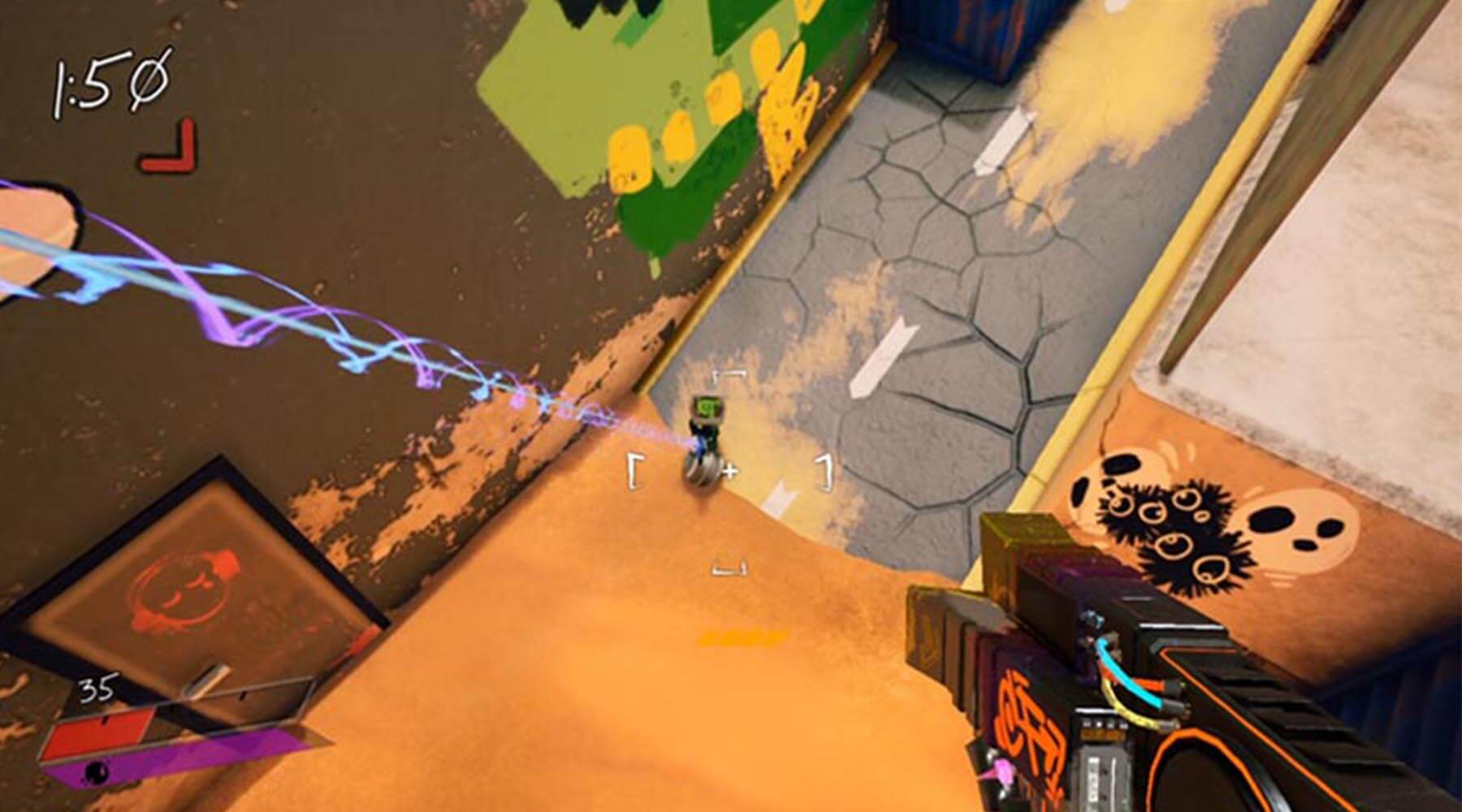 In-game screenshot of player, midair, aiming weapon's crosshair down at enemy robot.