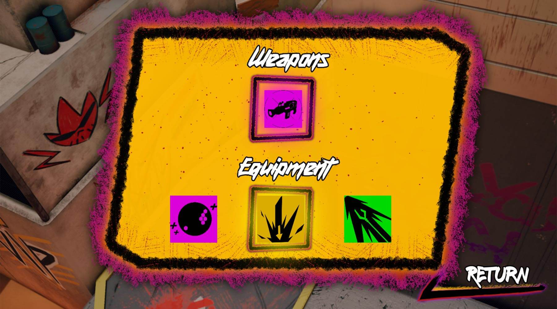 In-game screenshot of weapon and equipment selection screen.