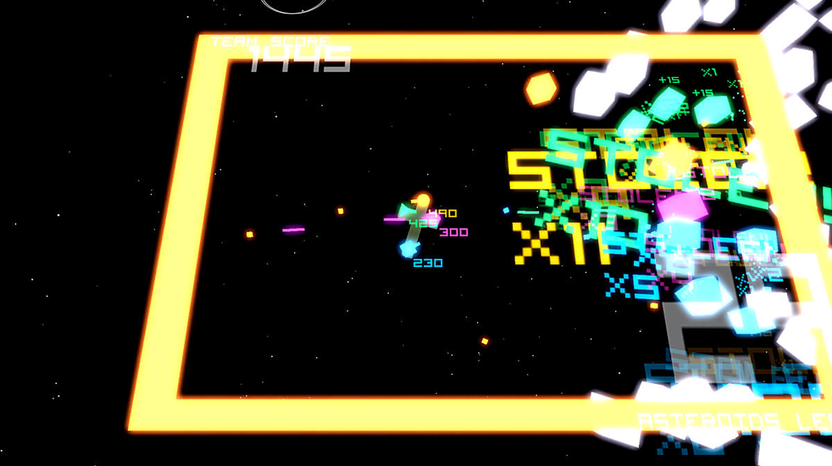 Screenshot of student game Super Space _____ featuring a gray blocky spaceship with 4 turrets shooting at incoming cubes