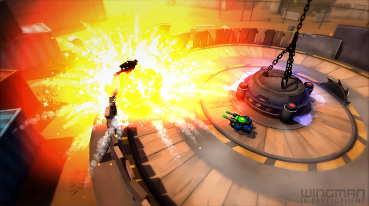 Screenshot of student game Wingman in which two hoverships battle inside a circular wood arena with saw blades and explosions.
