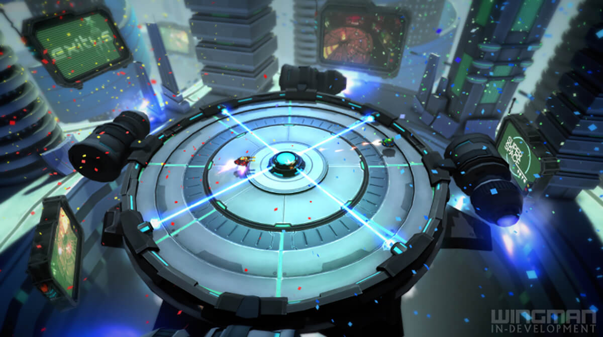 A hover-tank with a yellow machine gun turret and a red base, and another with a green turret and blue base face off in a futuristic arena.