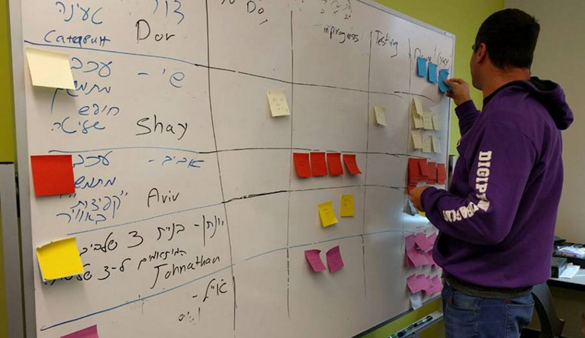 Tiltan School student tracks progress on game projects with sticky notes on a task board