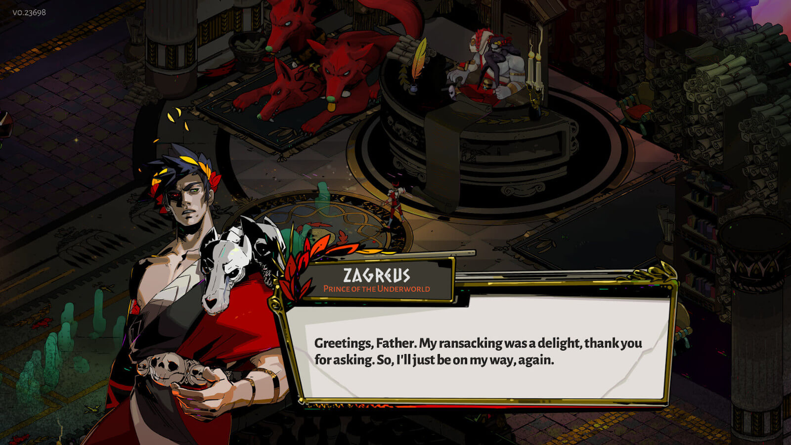 Screenshot of the character Zagreus speaking in the game Hades.