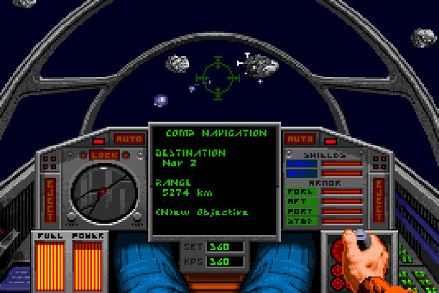 Screenshot of the cockpit in classic pc game Wing Commander 2