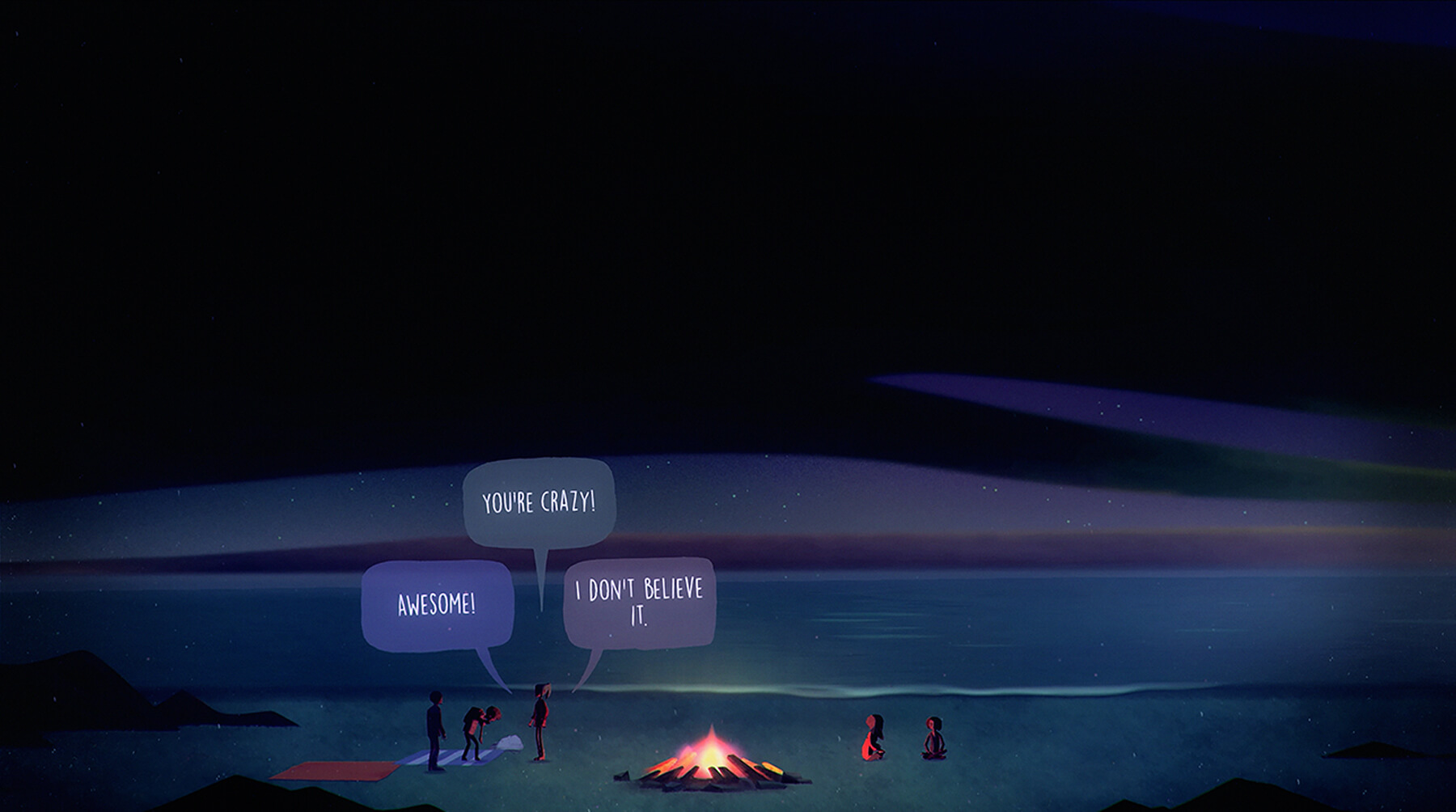 "Screenshot from Oxenfree of teenaged characters saying ""Awesome!"", ""You're crazy!"", ""I don't believe it."" at a campfire by a lake"