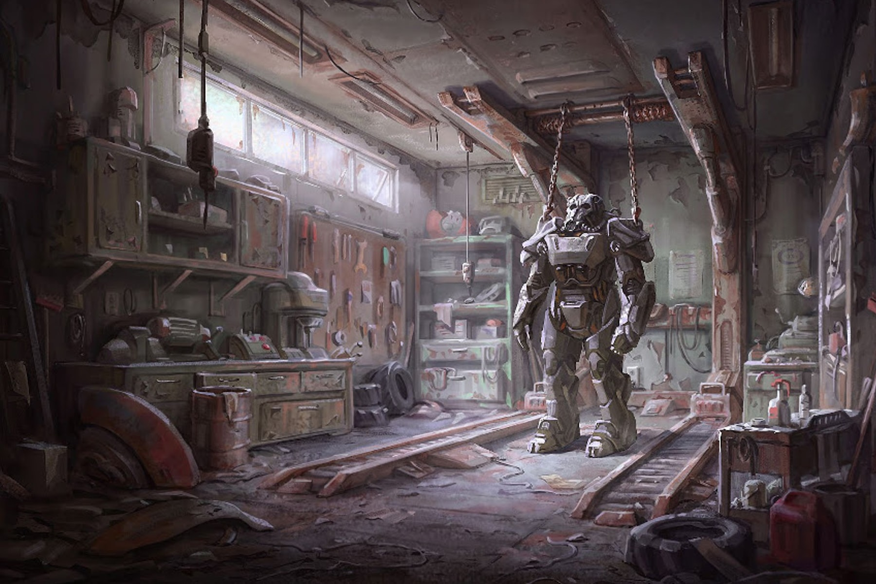 Illustration of a Fallout 4 power armor garage, a dusty workshop filled with tools and an armor suspended from the ceiling
