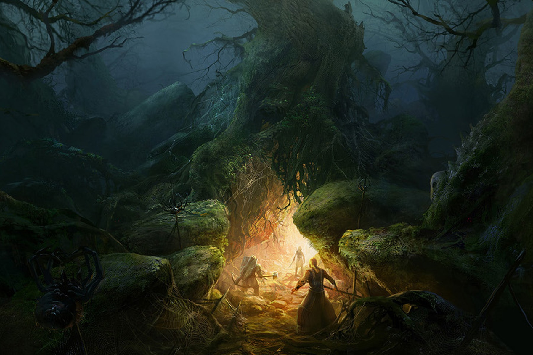 Travelers pass through a tunnel carved out of a huge tree trunk in an illustration for the Lord of the Rings game