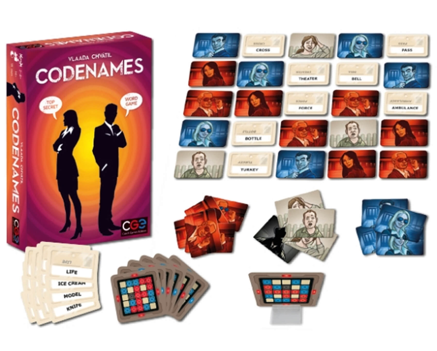 The art and game pieces for the tabletop game Codenames.
