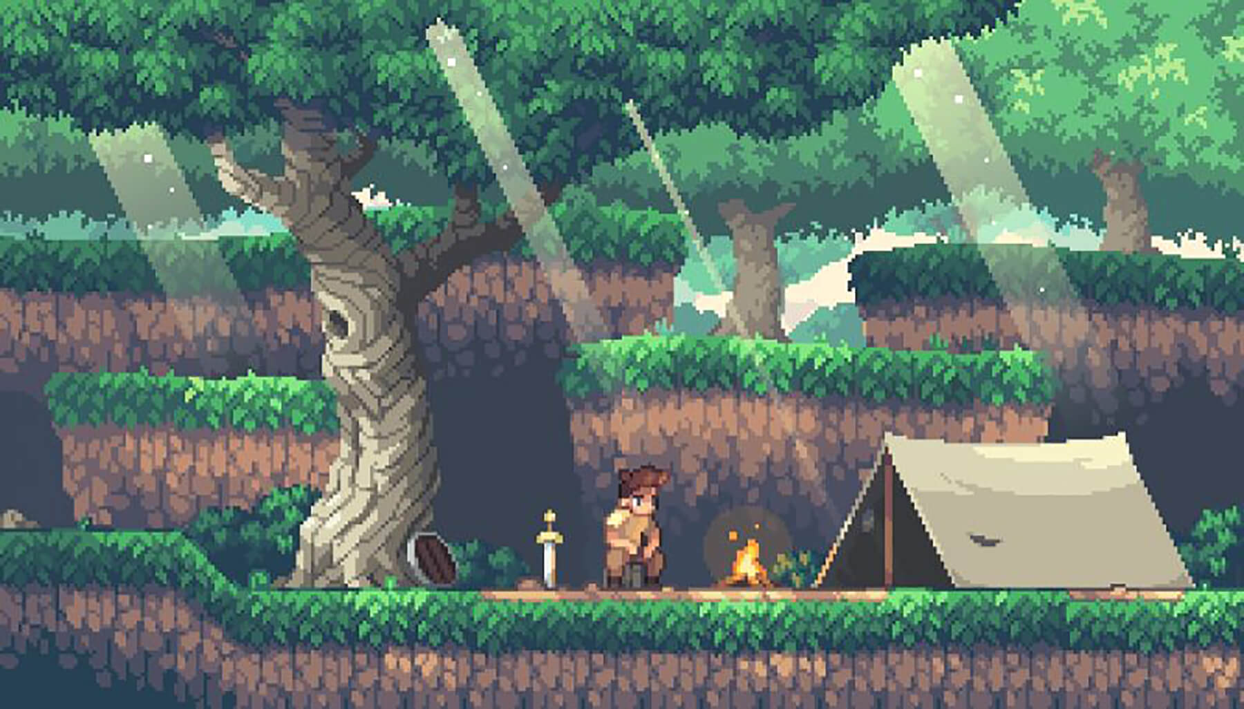 Pixel art of a young man in a forest campsite sitting next to a sword and shield, fire, and tent.