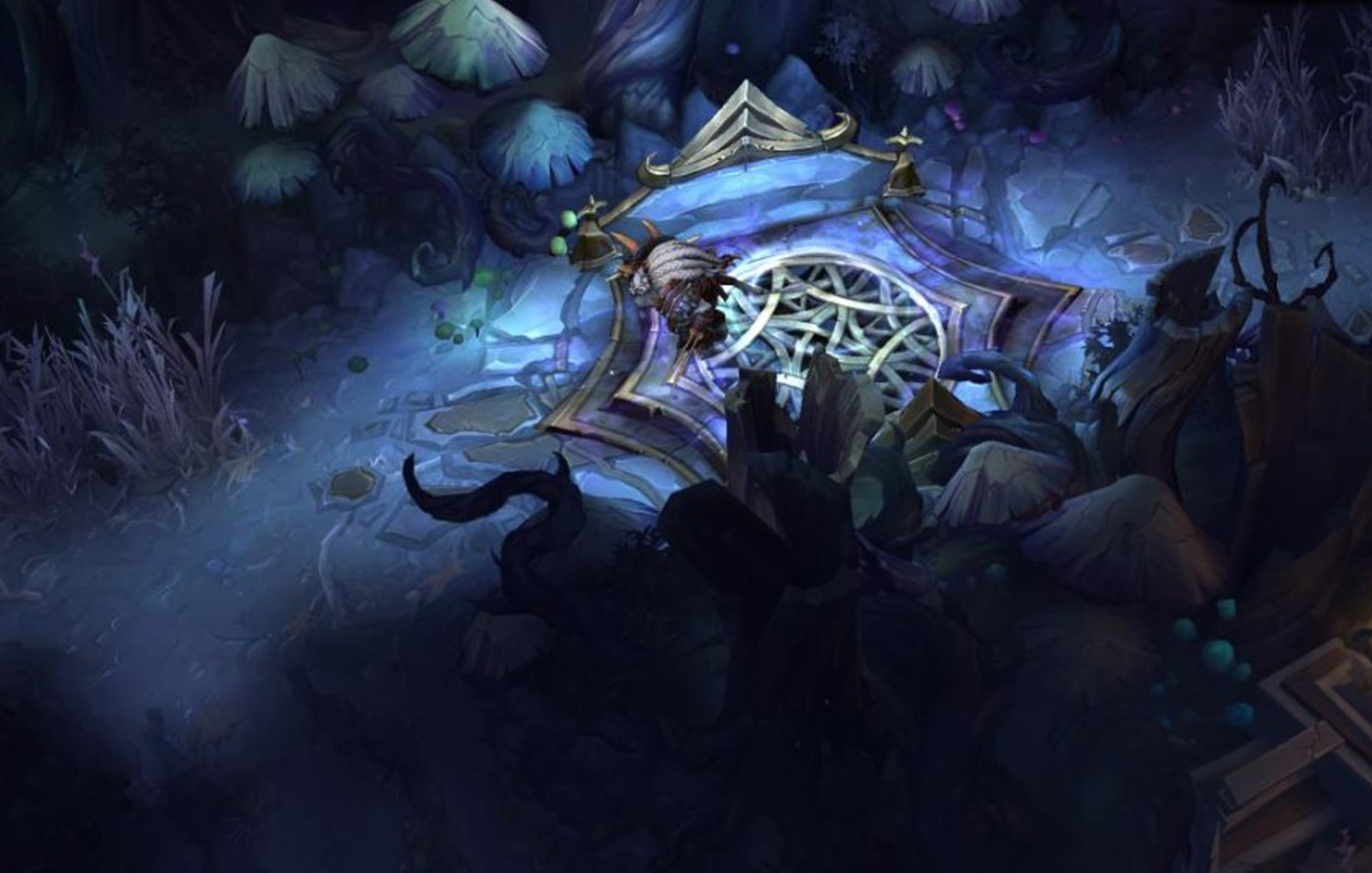 A darkened forest in the Twisted Treeline map from League of Legends