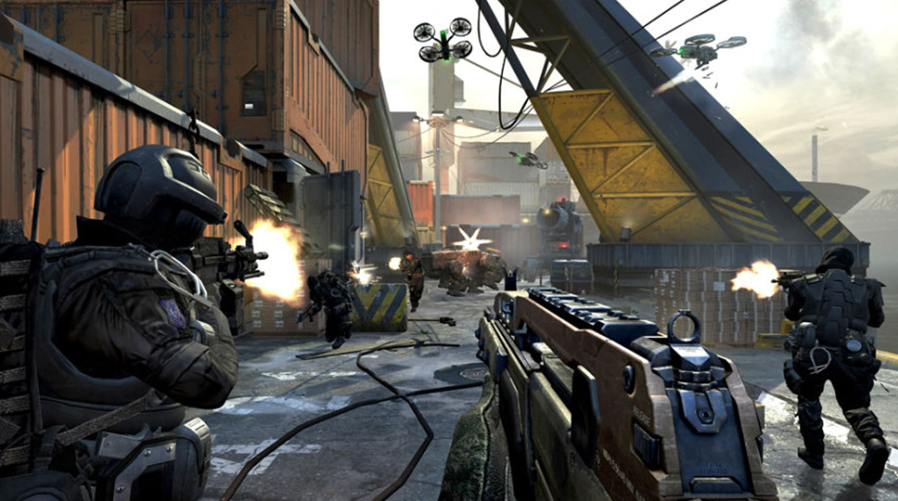 Screenshot from Call of Duty Black Ops 2 of a battle in Singapore