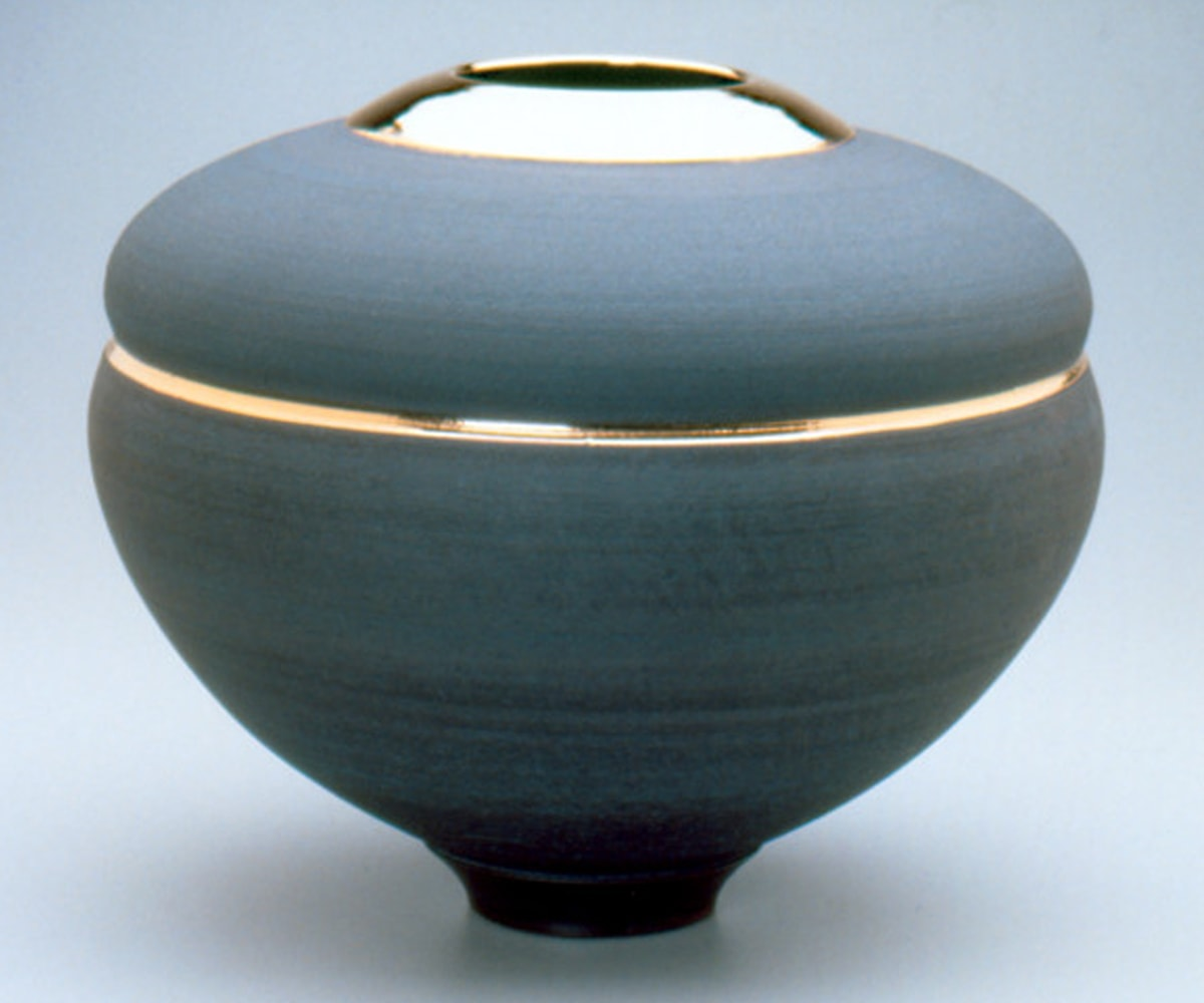 Ken Turner's Black and Gold Vessel, in black ceramic with real gold accents