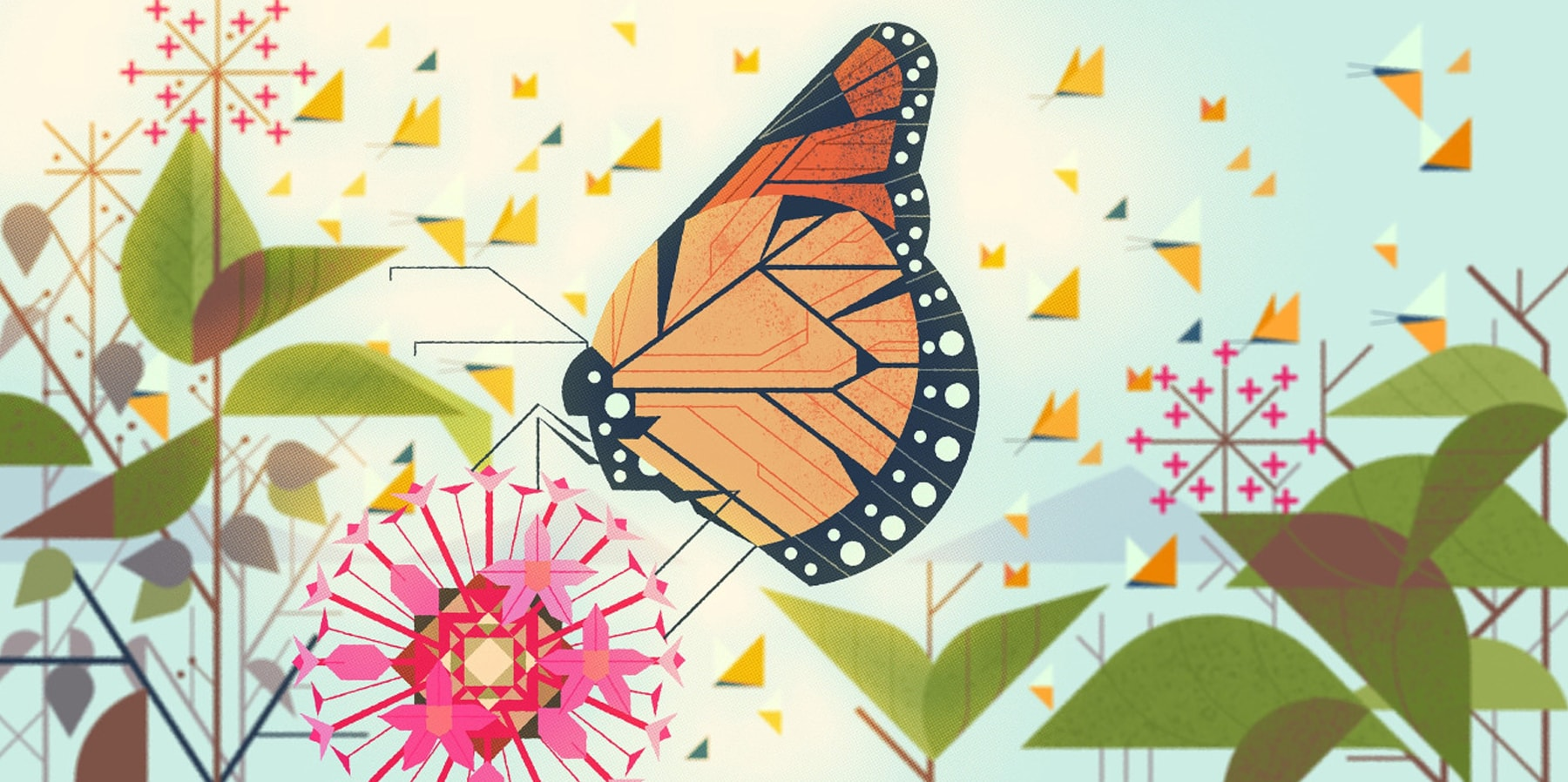 Kevin Dart's illustration of a monarch butterfly among the flowers