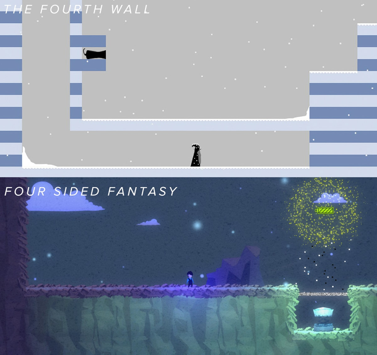 Comparison of screenshots from The Fourth Wall and Four Sided Fantasy