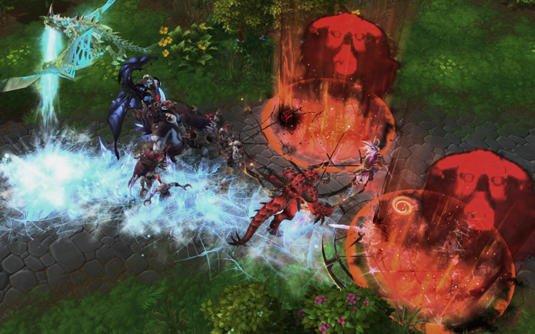 Screenshot from Heroes of the Storm of a battle in a forest