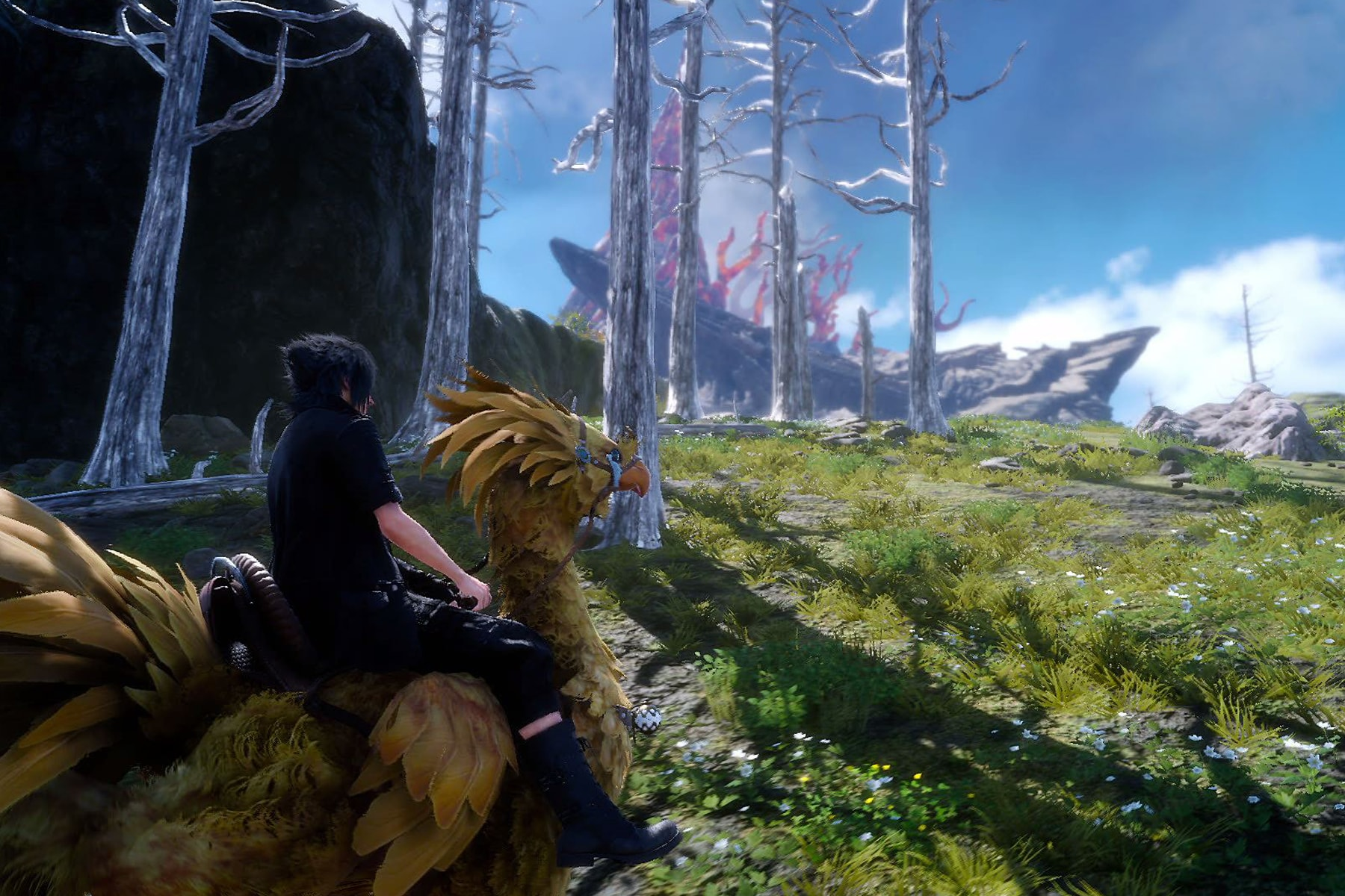 Screenshot from Final Fantasy XV featuring a character riding a bird-like creature