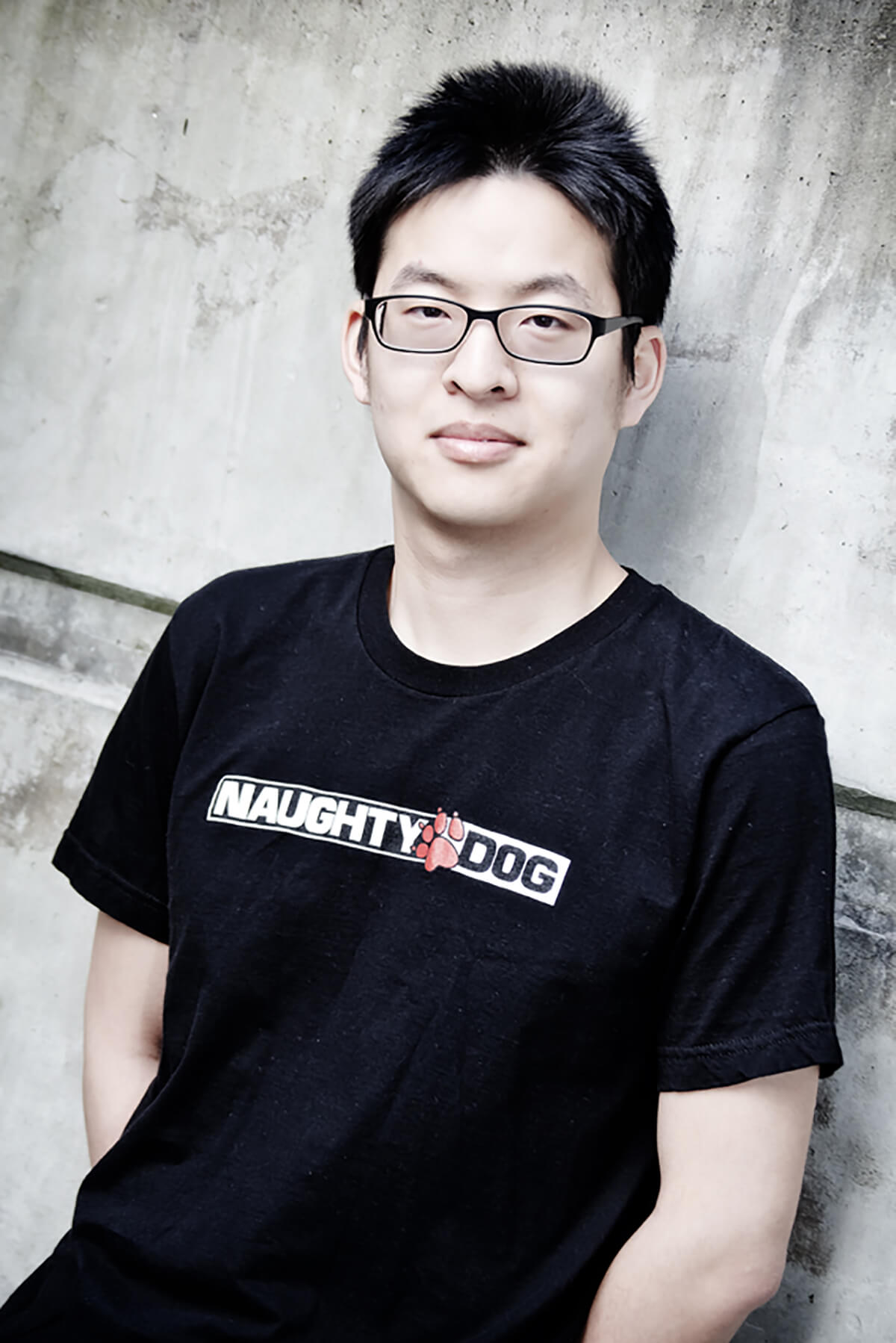 Ming-Lun Allen Chou in a Naughty Dog t-shirt