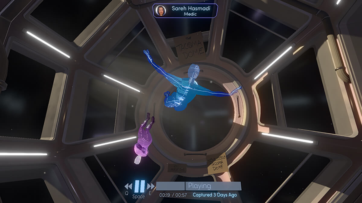 A screenshot from the Fullbright Company's game Tacoma, featuring two faceless characters floating in an observation dome