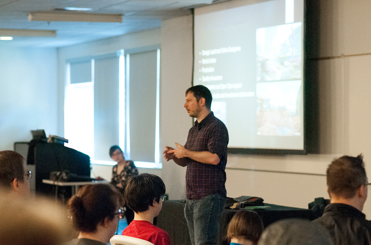 View from the audience of DigiPen alumnus Peter Kugler speaking at the Bungie Career Talk