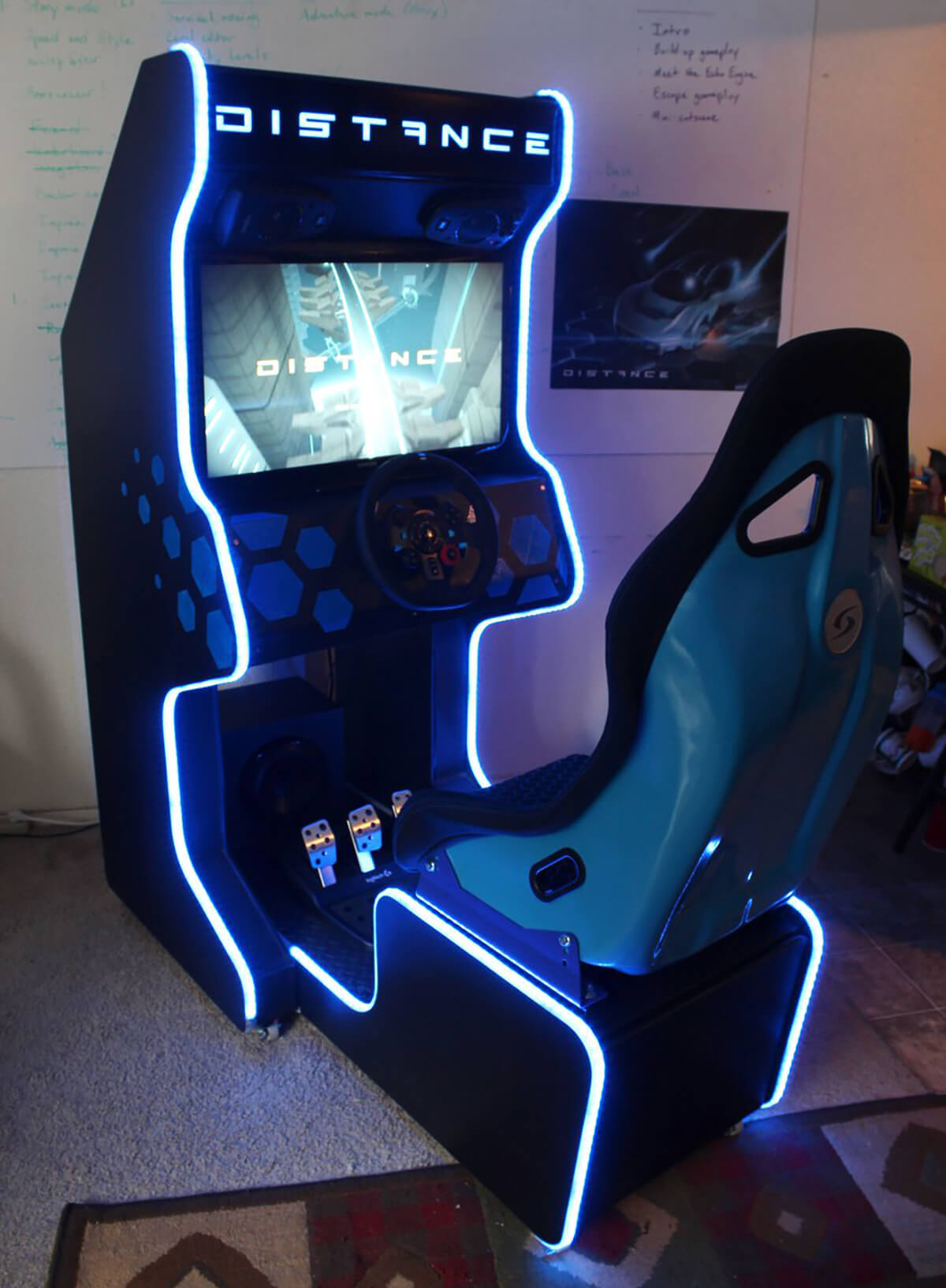 A handmade Distance arcade cabinet ready for delivery to a Kickstarter backer