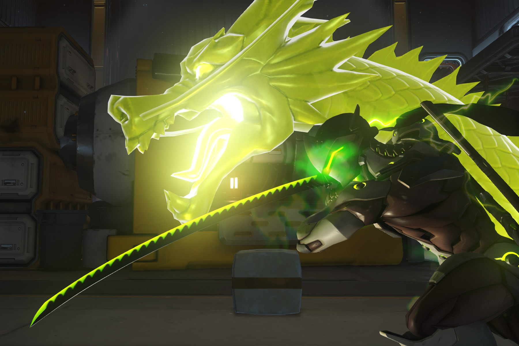 Screenshot from Overwatch featuring a yellow dragon