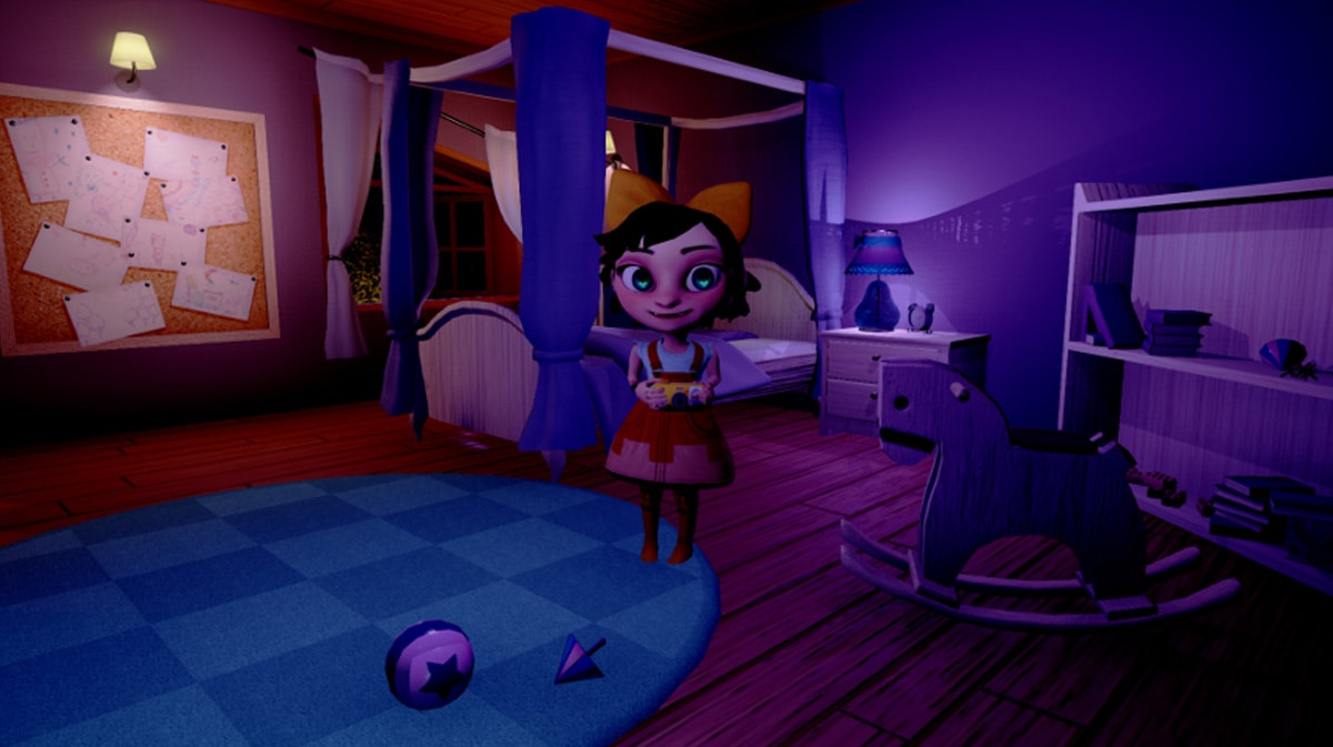 Melanie standing in a darkened bedroom next to a hobby horse in a screenshot from Somnus