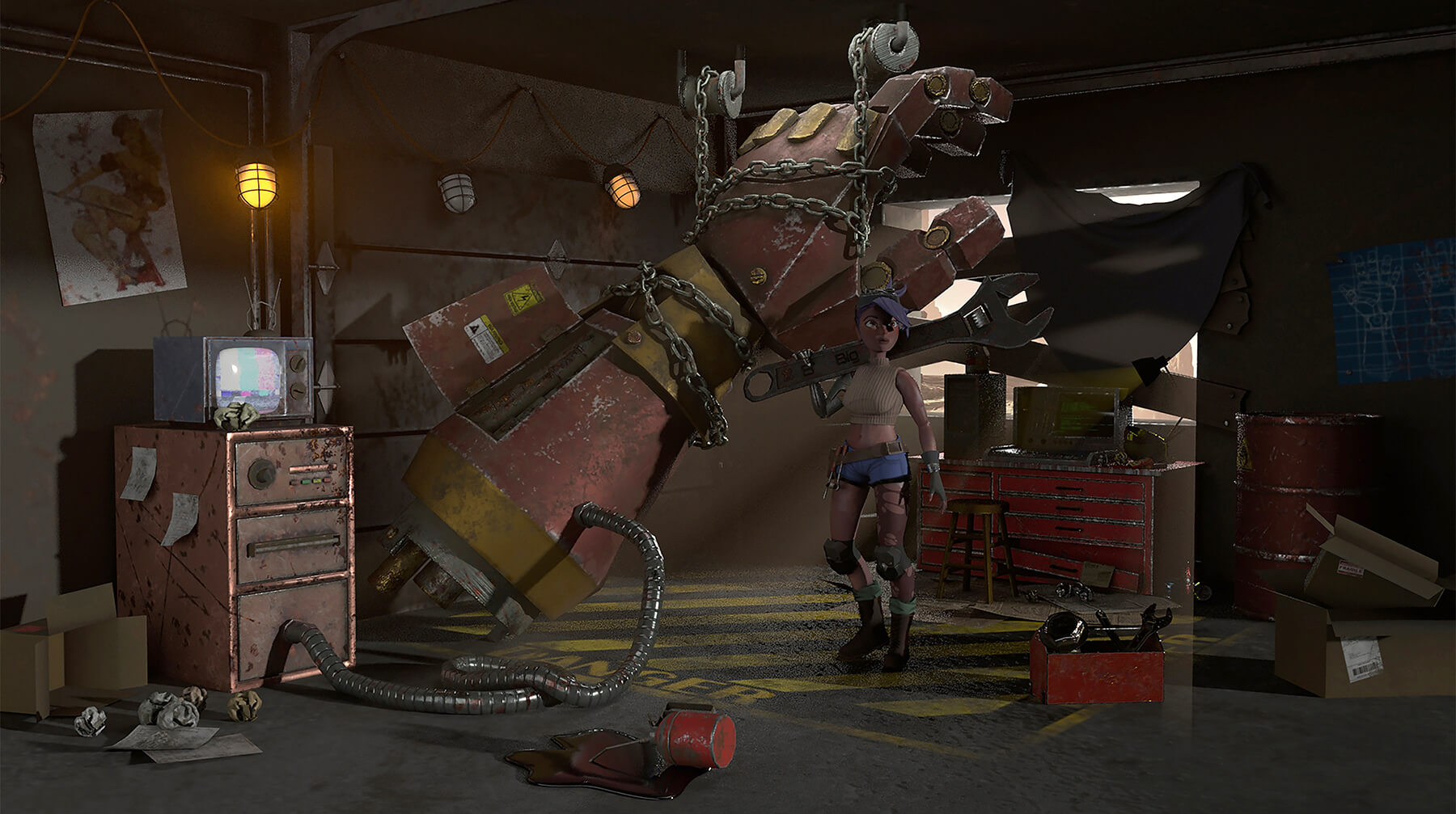 3D model of a woman mechanic holding a giant wrench, standing in a garage next to a giant robot arm.