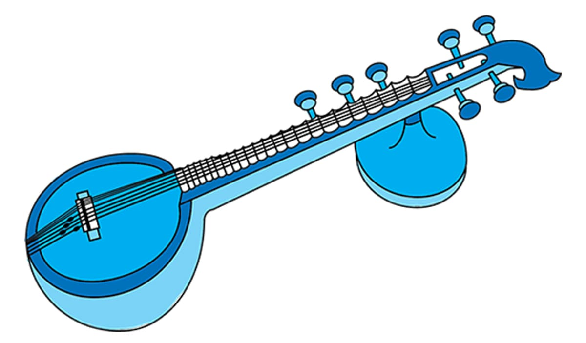 Drawing of a veena, an Indian instrument which looks a bit like a guitar