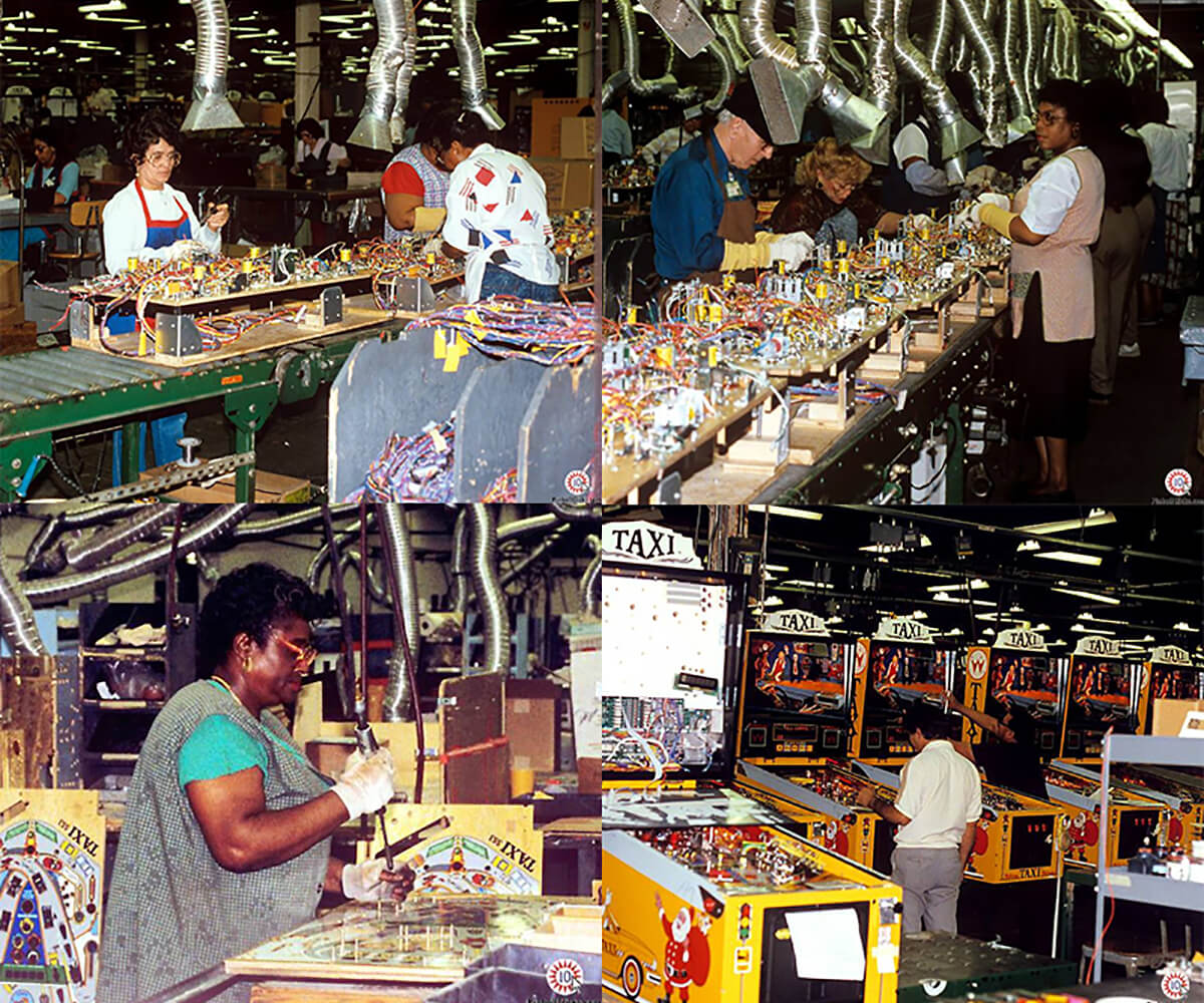 Collage of pictures of the Williams Electronic Games pinball machine factory floor in 1988, courtesy of Joel Shprentz from pinballclicks.com