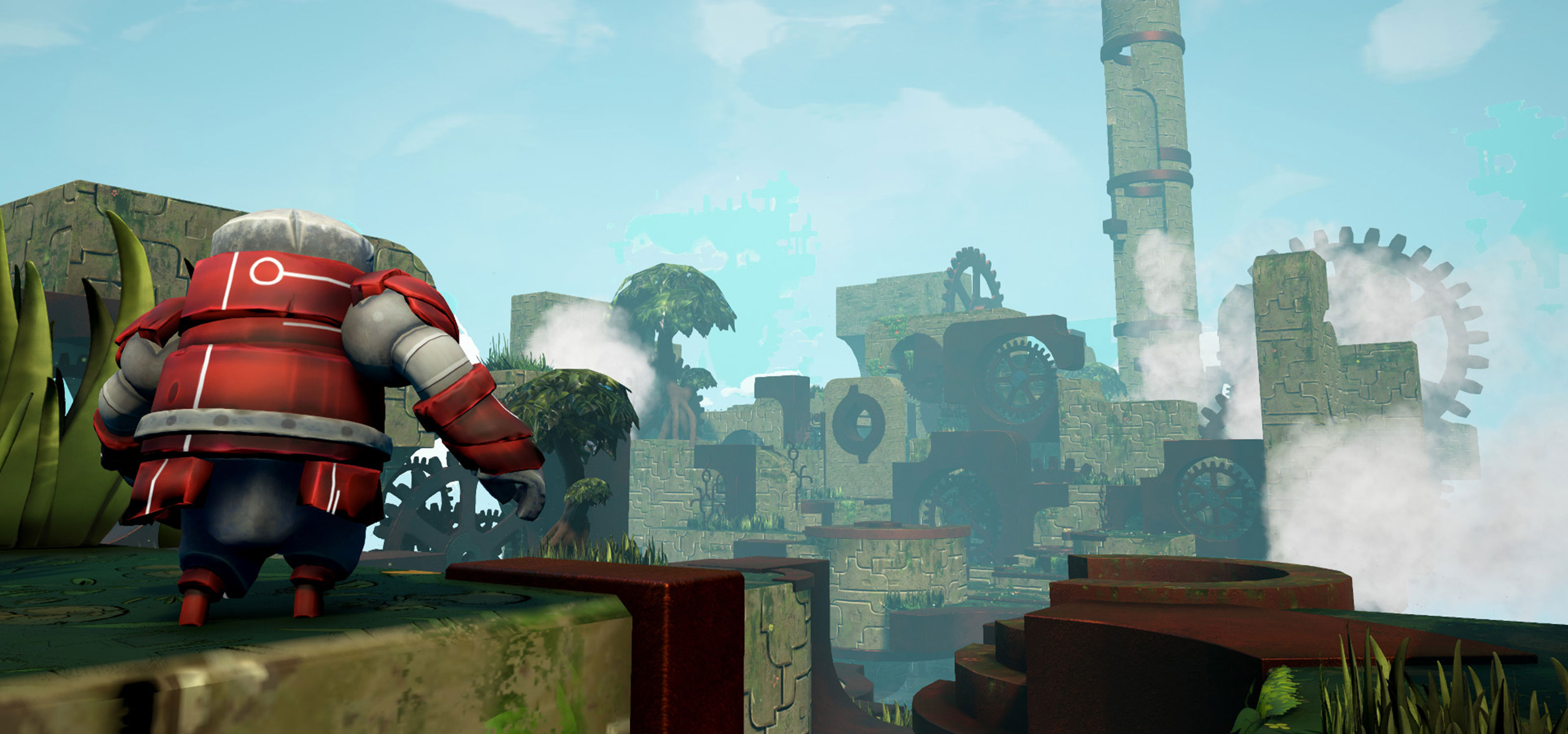 A squat, red robot seen from behind as it looks across a misty, stony landscape adorned with gears of all sizes.