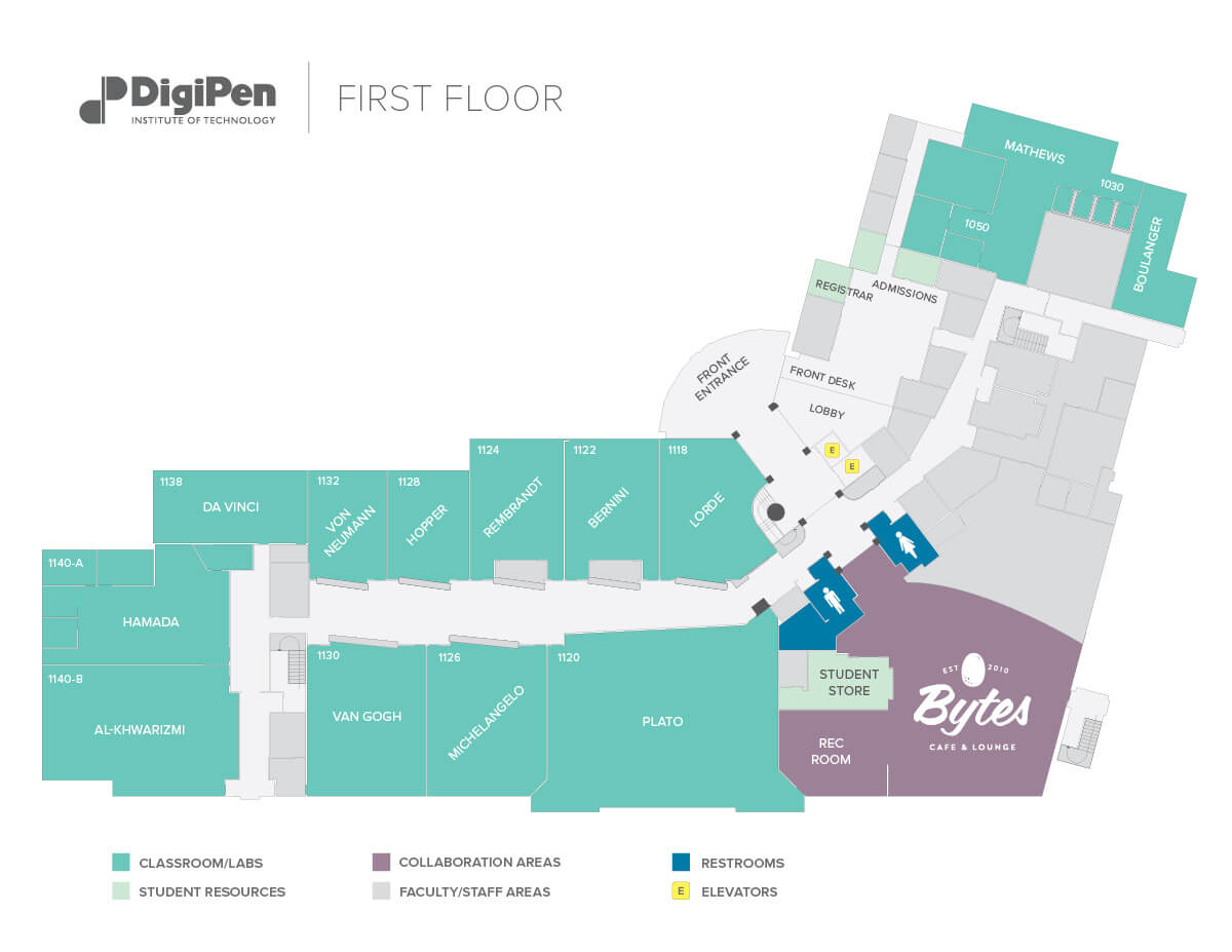 Map of the first floor of the DigiPen building in Redmond, WA