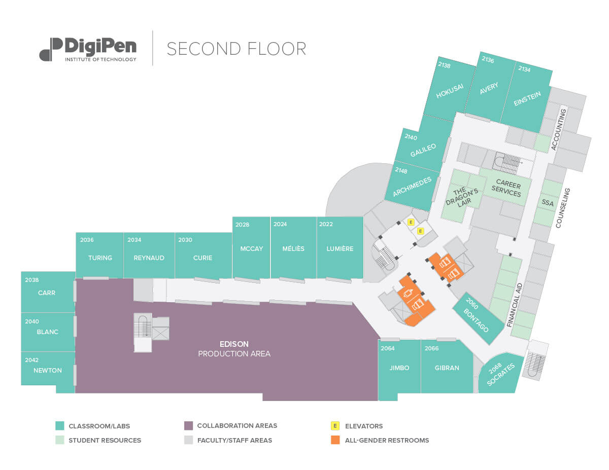 Map of the second floor of the DigiPen building in Redmond, WA