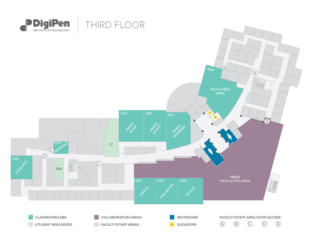 Map of the third floor of the DigiPen building in Redmond, WA