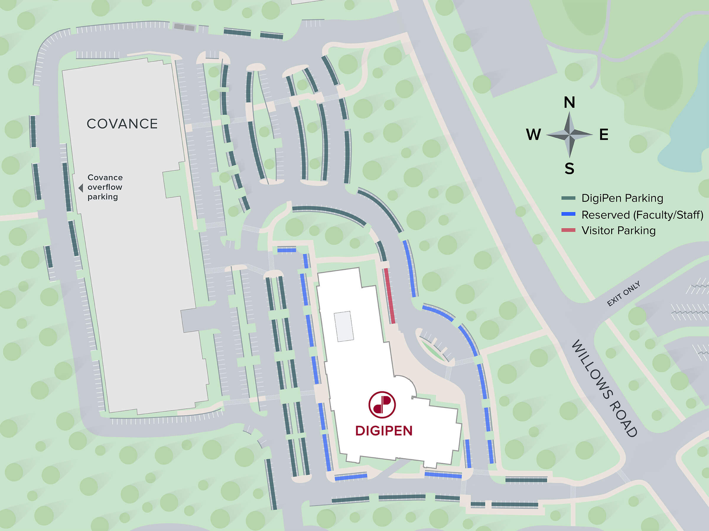 Map of DigiPen parking area