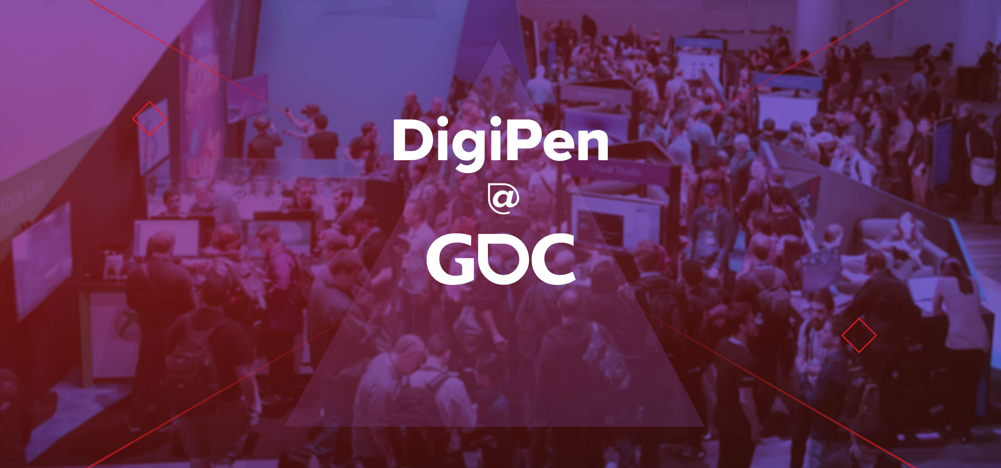 The GDC logo overlaid on a scene from the 2018 Game Developers Conference