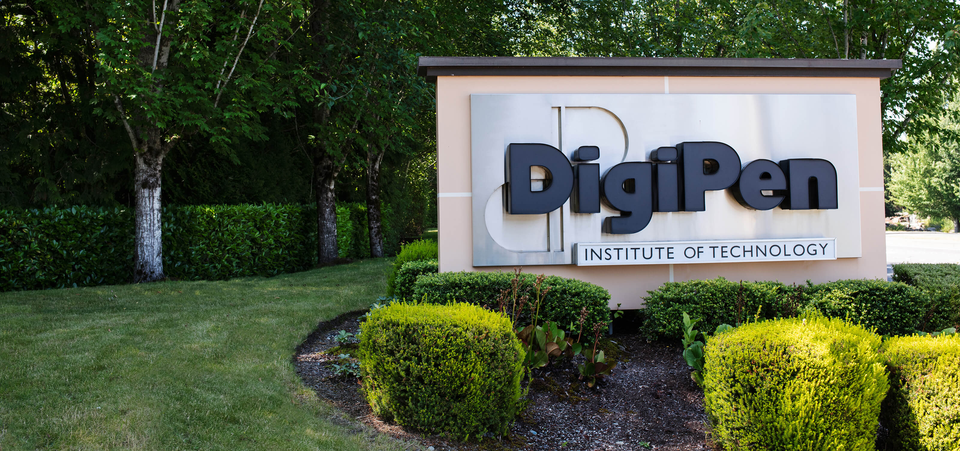 Picture of the DigiPen sign on Willows Road in Redmond
